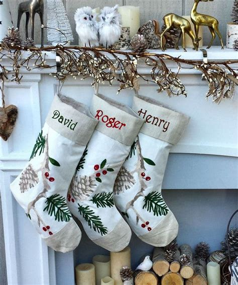 white christmas stockings canvas linen natural pine cone branch elegant rice stitch design