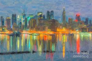 New York City Skyline In Oil Photograph by Clarence Holmes
