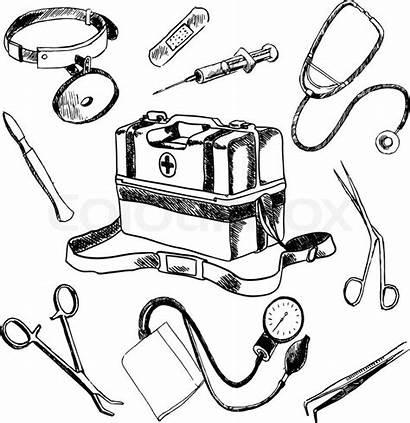 Doctor Medical Drawing Tools Sketch Stethoscope Vector