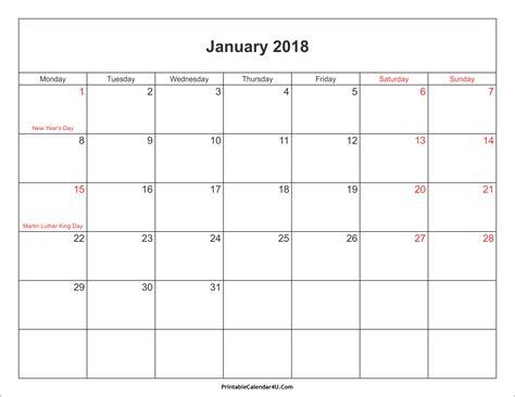 free 2018 calendar template free 2018 calendar with holidays weekly calendar template