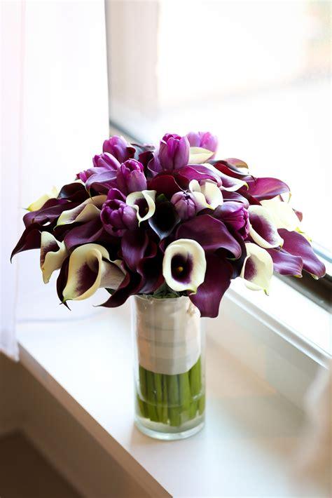 purple tulip  calla lily bouquet