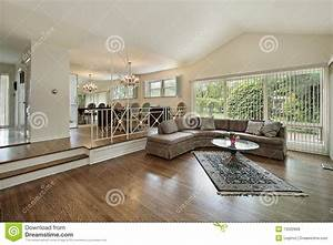 Living And Dining Room In Split Level Home Royalty Free