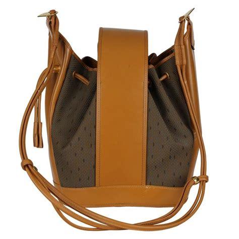 saint laurent monogram kate bucket vintage ysl drawstring  brown leather cross body bag