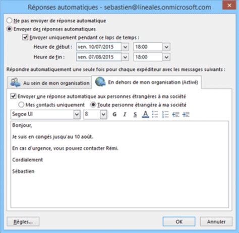 configurer le message d 39 absence du bureau dans outlook