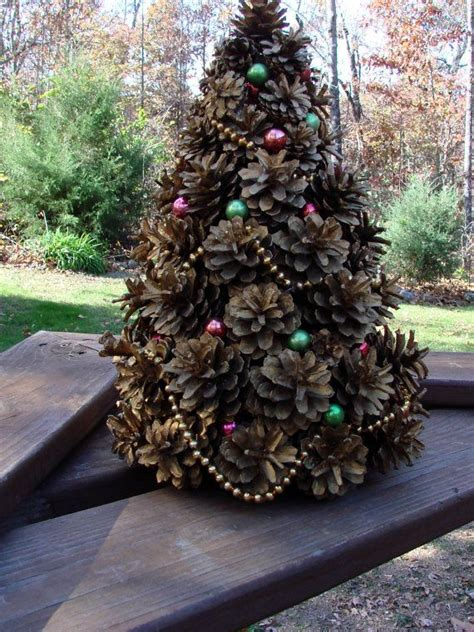 vintage  handcrafted pine cone christmas tree
