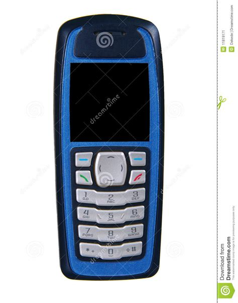blue mobile phone blue cell phone isolated stock image image 11819171