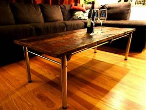 barn board coffee and end tables on reclaimed chrome bases With barn board end tables