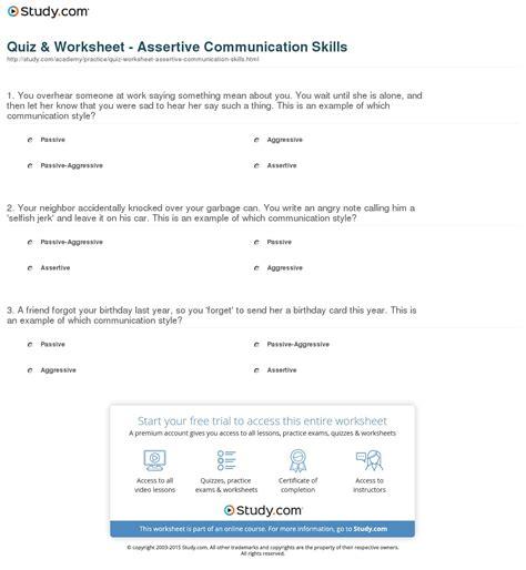 Quiz & Worksheet  Assertive Communication Skills Studycom