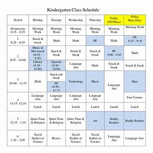 class schedule template 36 free word excel documents With kindergarten timetable template