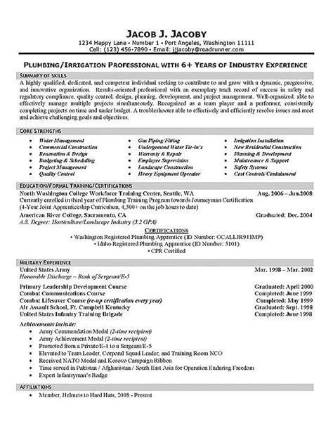 Plumbing Resume Objective by Plumber Resume Exle