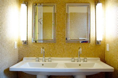 Double-pedestal-sink-bathroom-transitional-with-calm