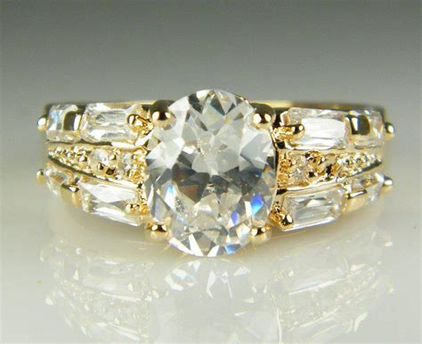 vintage engagement rings for sale luxury 18k solid yellow gold plated zircon