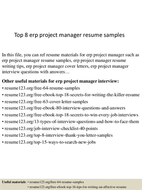 top 8 erp project manager resume sles