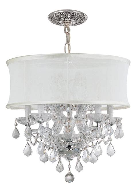 6 Light Chandelier With Shades by Crystorama Six Light Polished Chrome Drum Shade Chandelier