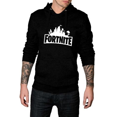 fortnite logo gaming black pullover hoodie