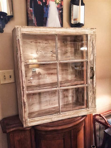 Rustic medicine cabinet   6 pane window cabinet  shabby