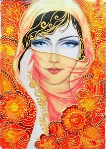 Glass, Painting, Of, Beautiful, Lady, Wearing, Scarf, U2013, Creative, Art