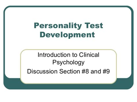 D8 And D9 Personality Test Development 10 2007-posting