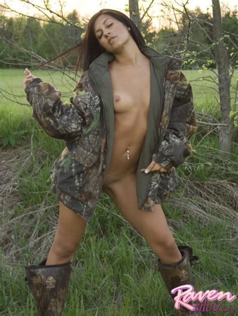 Naked Brunette Beauty In Sexy Army Jacket Xbabe