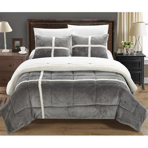 Sherpa Lined Comforter - vcny solid micro mink sherpa bedding comforter set