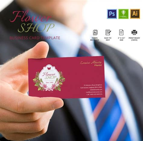 creative flower shop business card template