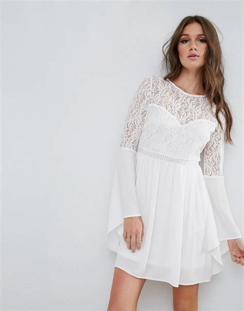 River Island Fluted Sleeve river island river island flute sleeve lace detail dress
