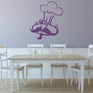 chef graphic With kitchen colors with white cabinets with large format vinyl sticker printing
