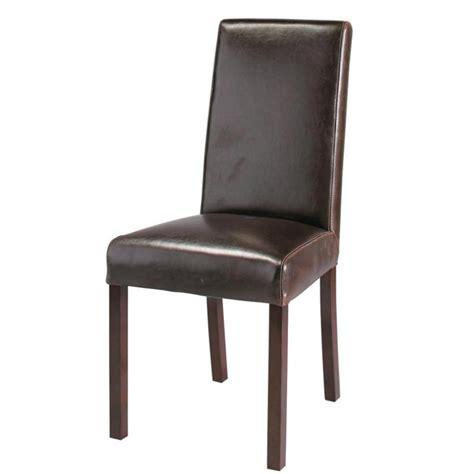 chaise bois et cuir chaise en cuir et bois marron harvard maisons du monde