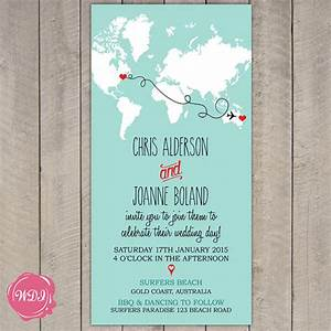 destination wedding invitation map world travel theme With free printable travel themed wedding invitations