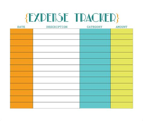 expense tracking templates  sample