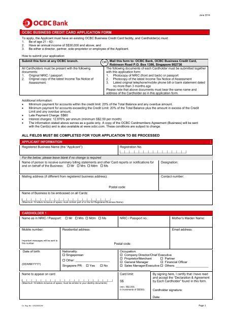 Remitly is not a bank. Card Application Form - OCBC Bank