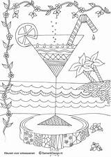 Coloring Adult Adults Drinks Colouring Printable Sheets Doodle Cocktail Coffee Colour Grown Ups Hour sketch template