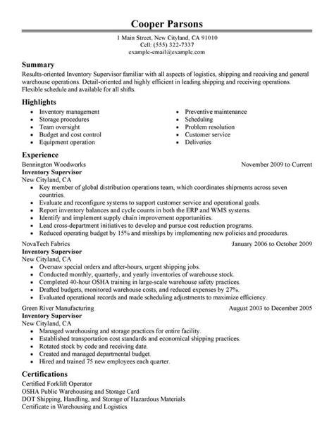 Production Supervisor Resume by Best Inventory Supervisor Resume Exle Livecareer
