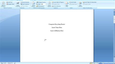 Office 2007 Apa Template by Office 2007 Apa Formatting