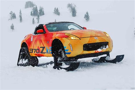 Nissan Car 370z Snow get your snow drift on with the nissan 370zki snowmobile