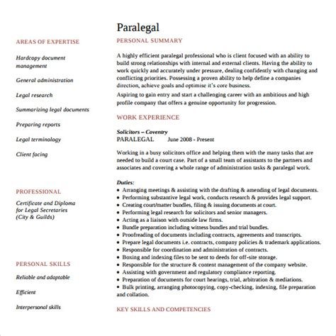 Paralegal Resume Template Word by Paralegal Resume 11 Free Documents In Pdf