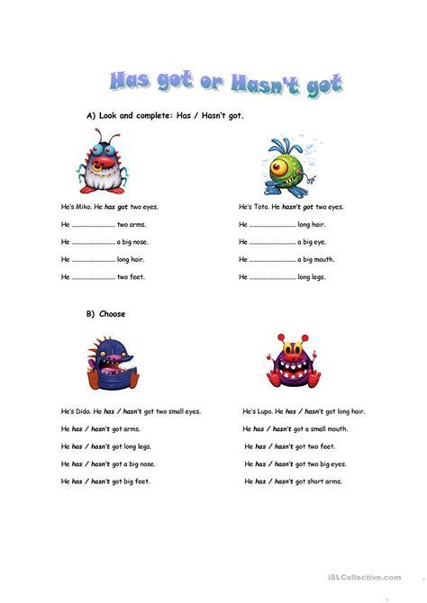 hashasnt  worksheet  esl printable worksheets