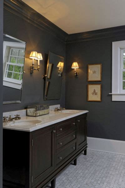 brown double vanity traditional bathroom  banks