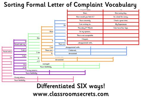 Words Not To Use In A Cover Letter by Sorting Formal Letter Of Complaint Vocabulary Special