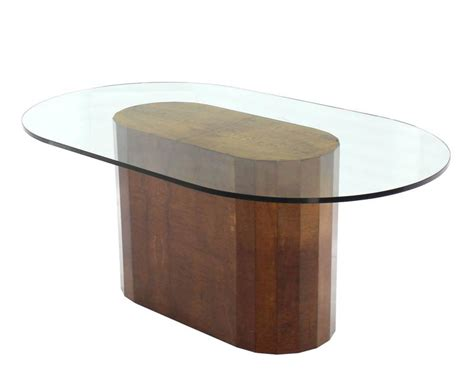 thick glass table top large burl wood base thick glass top oval dining table at
