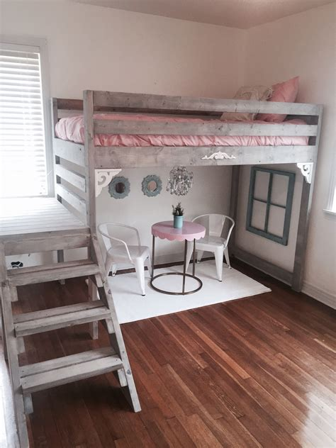camp loft bed  stair junior height kids room design
