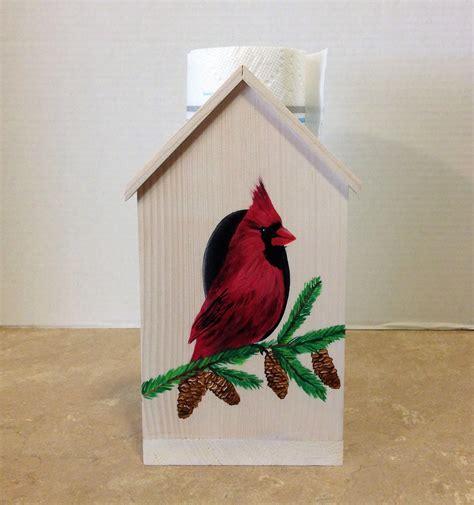 Cardinal Decor - paper towel holder wooden towel holder cardinal decor