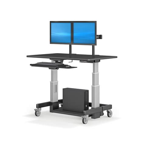 dual monitor office desk height adjustable ergonomic computer workstation desk with