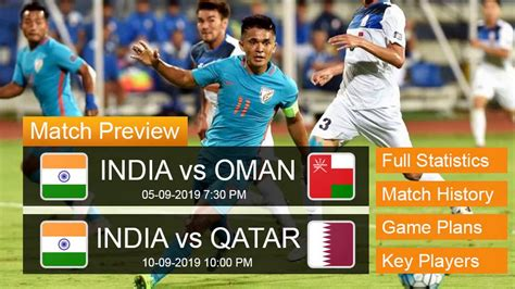 The indian football team's matches against oman on march 25 and uae on march 29 will be telecast live on the eurosport tv channel in india. INDIA vs OMAN and INDIA vs QATAR Match Preview    Key Players    Previous Statistics - YouTube