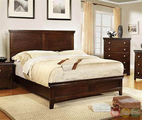 Nib Queen Bedroom Set Cherry Brown Finish Transitional