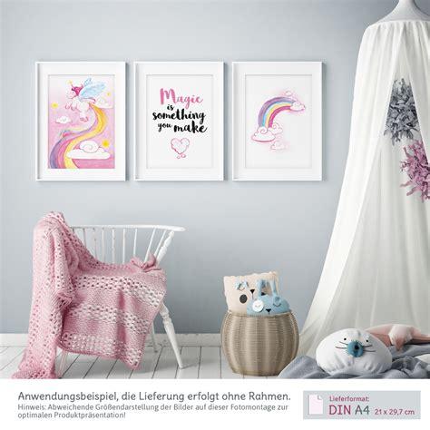 kinderzimmer bilder set bilder kinderzimmer m dchen aquarell einhorn poster 3er set kullaloo