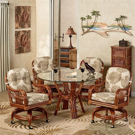 Leikela Rattan Tropical Dining Furniture Set