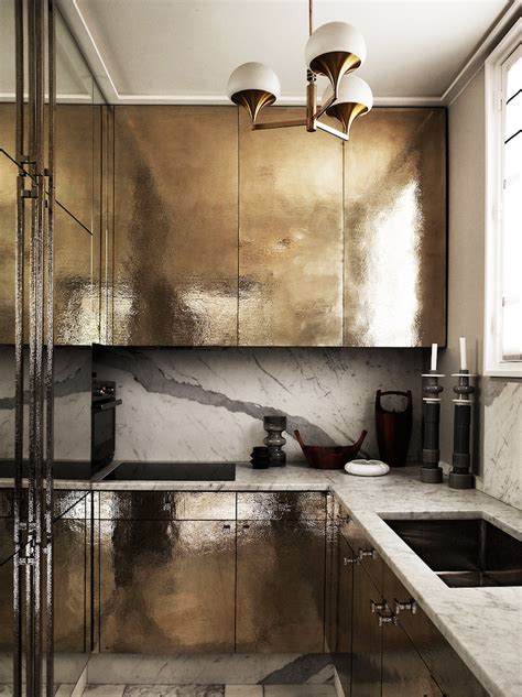 White Metal Kitchen Cabinets by What S 8 Beautiful Gold Brass And Hammered Metal
