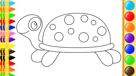 draw turtle  hand coloring  kids drawing