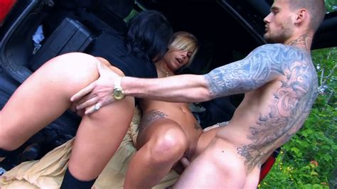 outdoor threesome fucking two girls on a car porn photo eporner